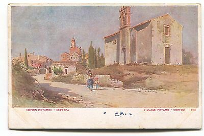 Corfu - Village Potamo - early Greece postcard