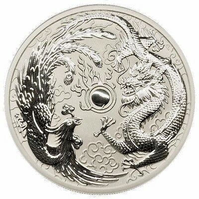 2017-P Australia $1 1 oz. Silver Dragon & Phoenix In Mint Capsule GEM BU