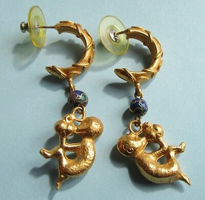 Monkey Holding Peach Alva Museum Reproduction Chinese Earrings