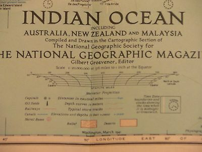 World War II Vintage 1941 National Geographic Map of the Indian Ocean