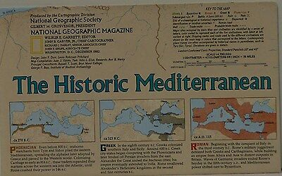 Vintage 1982 National Geographic Map of the Historic Mediterranean