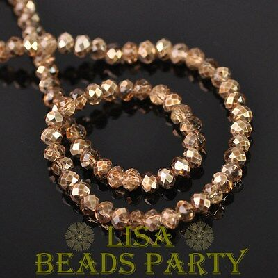 New 500pcs 4X3mm Faceted Rondelle Crystal Glass Loose Spacer Beads Champagne