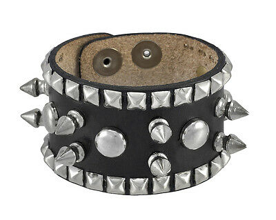 Ladies Spiked Studded Black Leather Wrist Band Wristband