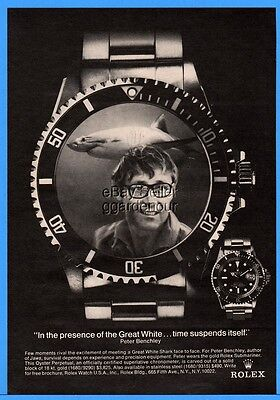 1976 Rolex Submariner Watch Peter Benchley photo Great White Shark print ad