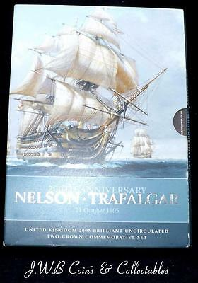 2005 200th Anniversary Nelson - Trafalgar 2 Crown £5 Comemorative Coin Set