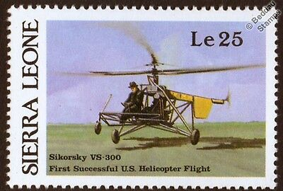 VOUGHT SIKORSKY VS-300 Prototype Helicopter Aircraft Stamp (1987 Sierra Leone)