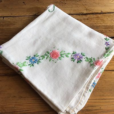 Beautiful Vintage Hand Embroidered Table Cloth Flower Basket Design Vgc (M1)