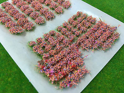 Mixed Pink Garden Flower Static Grass Tufts 4mm -Model Scenery Railway Warhammer
