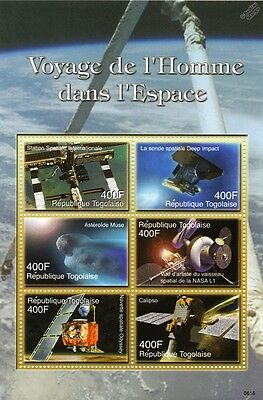 SPACECRAFT (ISS / Mars Odyssey / Calipso) Space Stamp Sheet (2006 Togo)