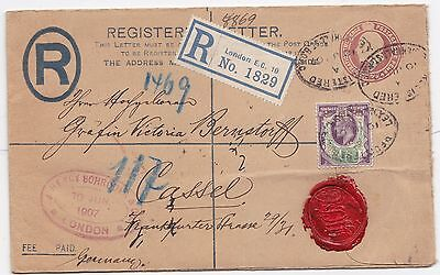 * 1907 POSTAL STATy. REGd ENV 1½d UPRATED HENRY SCHROEDER BANK PERFIN > GERMANY