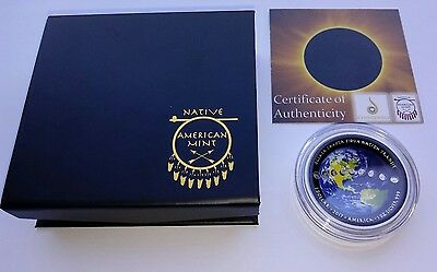 2017 American Solar Eclipse 1oz Fine Proof Silver Colorized Curved Coin