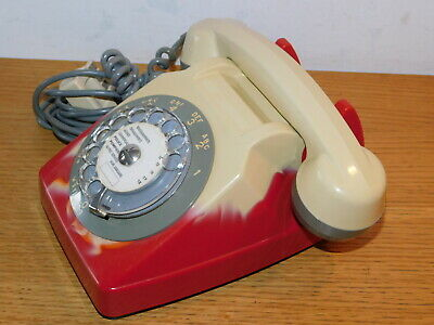 ancien vintage design kitch TELEPHONE BLANC et ROUGE 1982 old phone ALT TELEFON
