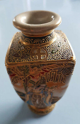 Stunning Antique Miniature Square Satsuma Vase Meiji Period? Excellent Condition