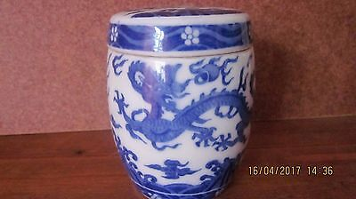 Antique / Vintage Chinese blue And white Porcelain Tea Caddy
