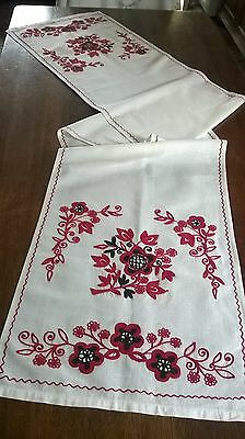 Vintage Hand Embroidery Large Runner Table Cloth