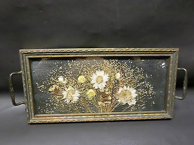 Antique Vanity Miniature Wood Serving Tray - Glass - Dried Flowers