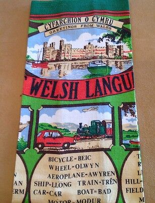 Vintage Souvenir Kitchen Towel, WALES, The Welsh Language, Cotton, Green, Multi