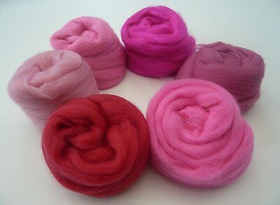FELTING WOOL PINK SHADES PACK. 60g. 6 COLOURS (10g each).MERINO WOOL TOPS