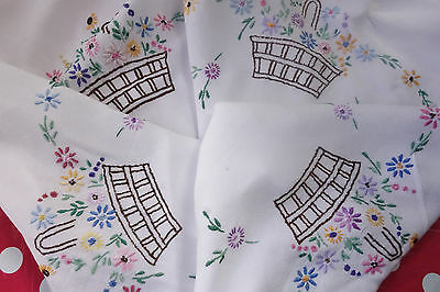 vintage basket of flowers  hand embroidered tablecloth 32x33 inches