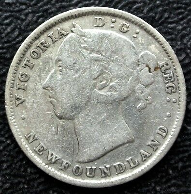 OLD CANADIAN COIN 1882 H NEWFOUNDLAND 20 CENTS - .925 SILVER - Victoria