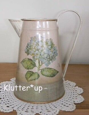 Chic Victorian Style Shabby Country BLUE HYDRANGEA LARGE TIN/METAL  PITCHER*New