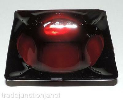 "Vintage Anchor Hocking Royal Ruby Red Glass 4-5/8"" Square Ashtray"