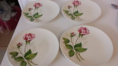 Knowles Tea Rose Dinner Plates Set Of 4 Pink Rose Plates