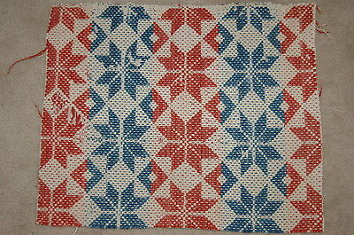 Antique Americana Red White Blue Star Woven Coverlet Repurpose  Piece