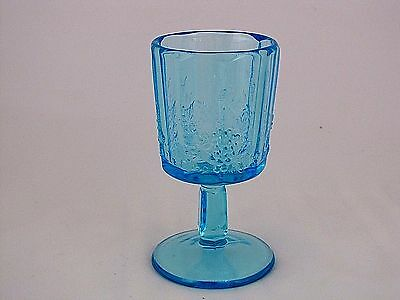 """L. G. Wright Glass Panel Grape Goblet in Blue, 6"""" tall"""