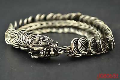 Collectible China Handwork Old Tibet Silver Carving Dragon Bracelet Girl Decor