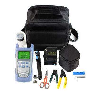 12-in-1 Fiber Optic FTTH Tool Kit Set Power Meter FC-6S Optical Cleaver Finder