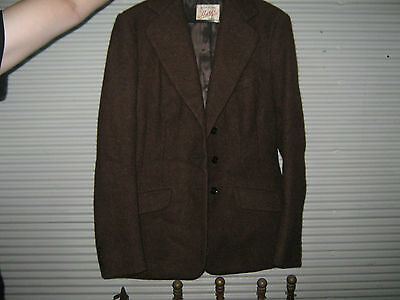 A Vintage Harex Brand Brown Wool Tweed Jacket Sz Small - Med