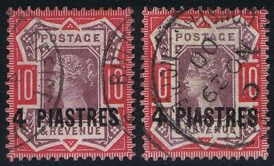 British Levant 1887 SG6 4 pi on 10d Wide 4 Variety with normal