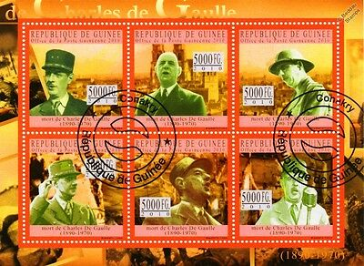 WWII Charles De Gaulle Commemorative Stamp Sheet (2010 Guinea)