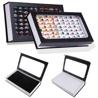 72 Ring Jewellery Display Storage Box Tray Show Case Organiser Earring Holders