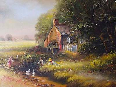 Large Ted Dyer Original Oil Painting - Rural Landscape With Children Playing