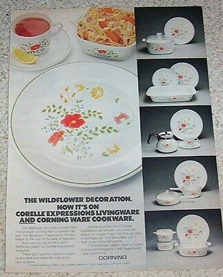 1978 advertising page -Corning Ware cookware Corelle wildflower Vintage PRINT AD