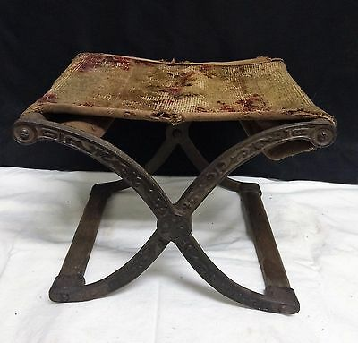 Antique Cast Iron Folding Base Scissor Stool Footstool Civil War Buggy Portable