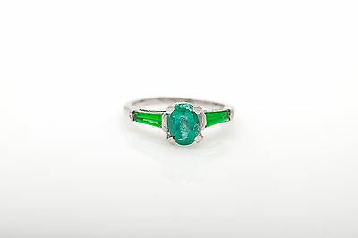 Antique 1940s $4000 2.25ct Colombian Emerald Platinum 3 Stone Wedding Ring RARE