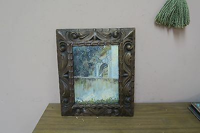 Old Vintage Signed Palace Garden Landscape Oil on Board Painting - Framed