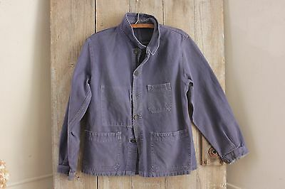 Vintage French blue workwear work clothes chore coat jacket  French old timeworn