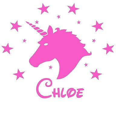 Personalised Name UNICORN Wall Art Girls/Kids Bedroom Vinyl Sticker 15 colours