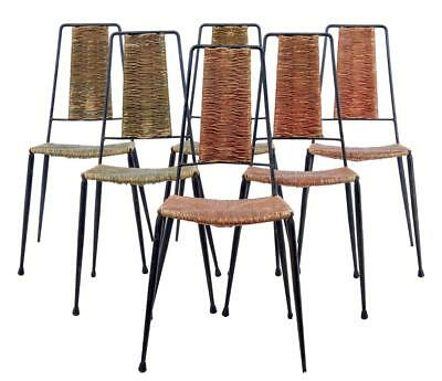 SET OF 6 1930's METALWORK AND RATTAN DINING CHAIRS