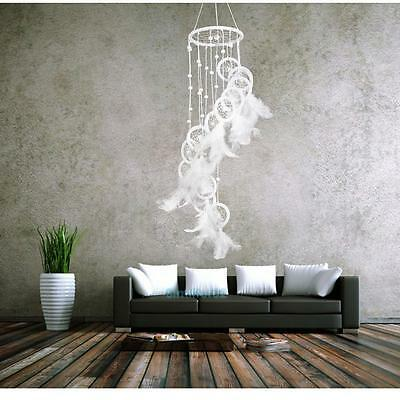 White Polycyclic Dream Catcher Feathers Beads Wall Hanging Home Car Decor Craft