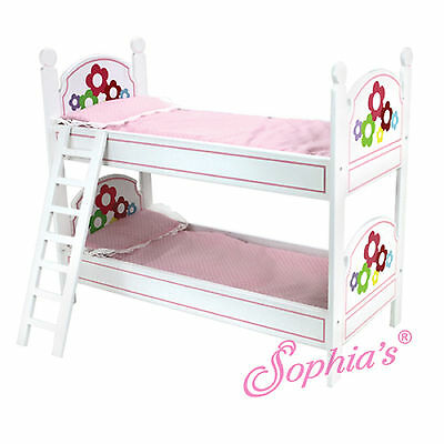 """Sophia's WHITE BUNK BED W/ PAINTED FLOWERS, LADDER & BEDDING for 18"""" Dolls NEW"""