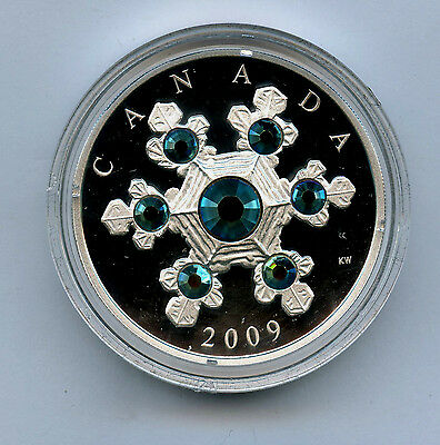 2009 Canada 1 oz 999 Silver $20 Blue Crystal Snowflake Choice Proof