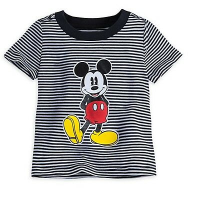 Disney Store Mickey Mouse Black Striped Baby T Shirt Size 12-18 Months NEW