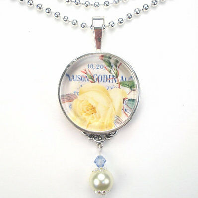"""French Yellow Rose """"vintage Charm"""" Silver Or Bronze Pearl Pendant Necklace"""