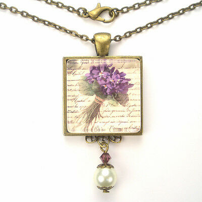 "Purple Violets French Writing Bronze Or Silver Necklace ""vintage Charm"" Jewelry"