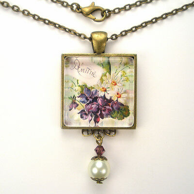 """Violet Daisy French Friendship Bronze Or Silver """"vintage Charm"""" Friend Necklace"""